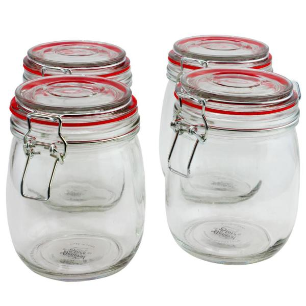 General Store Cottage Chic 4-Piece Glass Preserving Jar with Wire Bail
