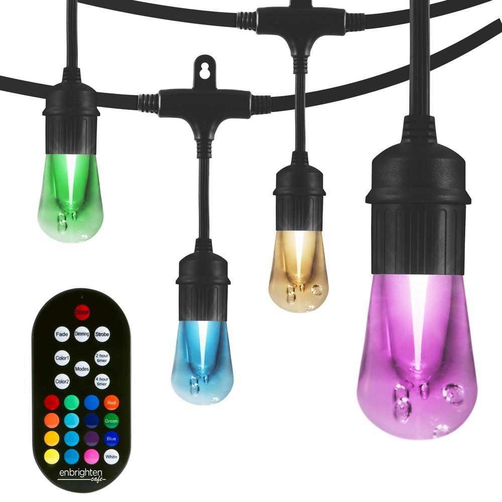 24 Bulb 48 Ft Vintage Seasons Color Changing Cafe Integrated Led String Lights Black