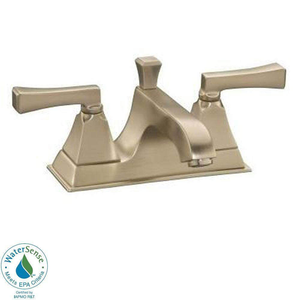 KOHLER Memoirs 4 in. 2-Handle Low-Arc Bathroom Faucet in Vibrant Brushed Bronze-DISCONTINUED