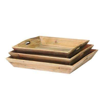 Reclaimed Wood Trays (Set of 3)