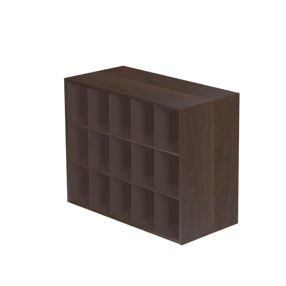 25 in. W x 19 in. H Mocha 15-Cube Organizer