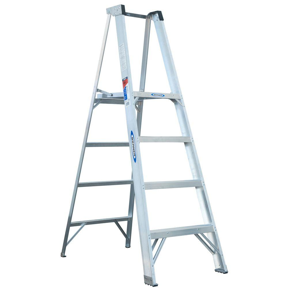 10 ft. Reach Aluminum Platform Step Ladder with 300 lb. Load