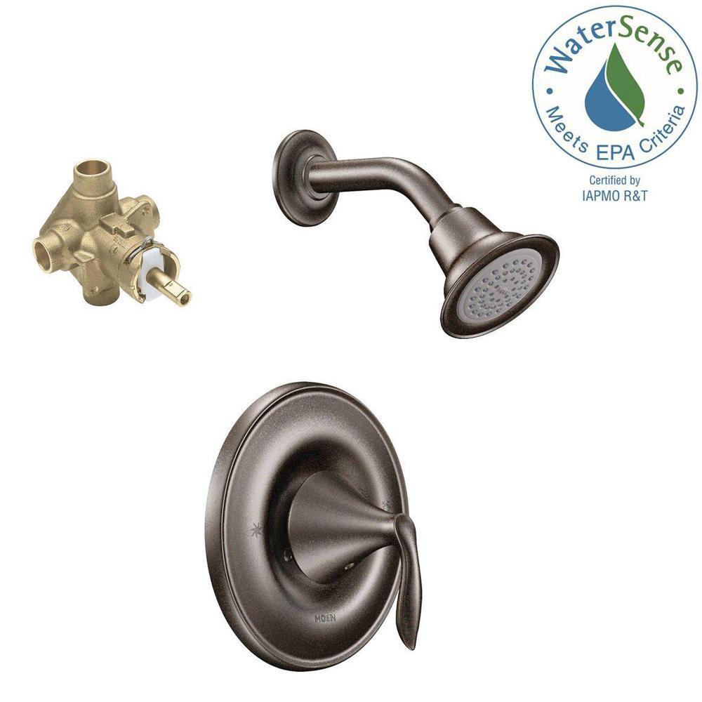 Moen eva posi temp 1 handle 1 spray shower faucet with eco - Moen rubbed bronze bathroom faucets ...