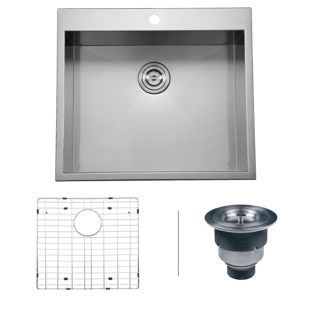 16 Gauge Square Top Mount Single Bowl Kitchen Sink