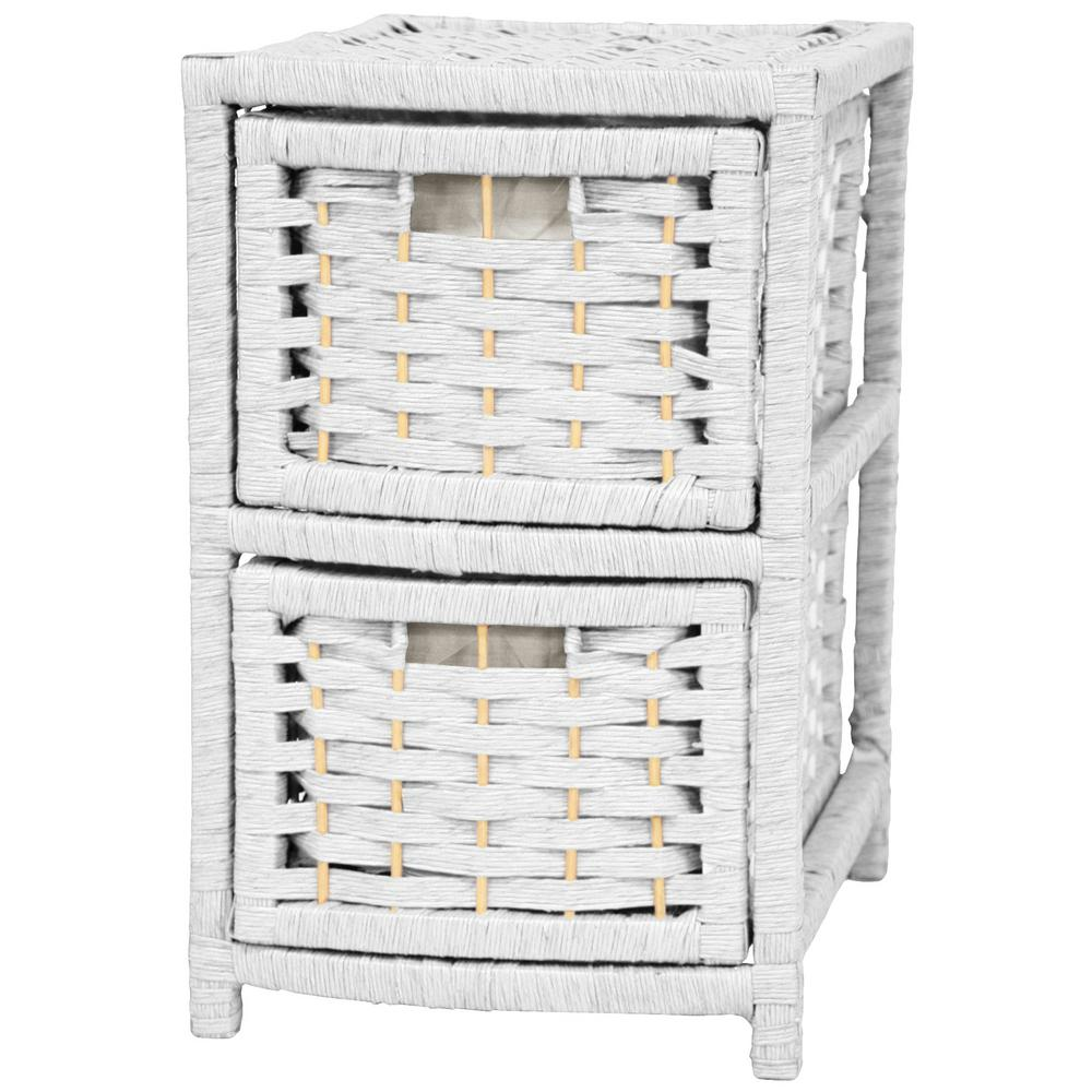 2-Drawer White Natural Fiber Occasional Trunk