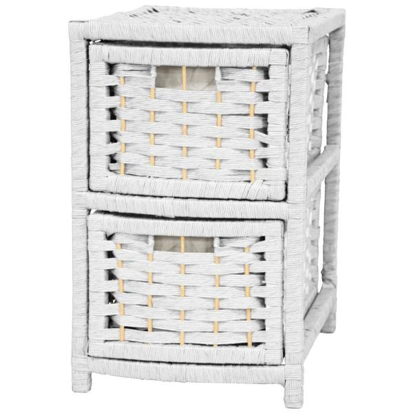 Oriental Furniture 2-Drawer White Natural Fiber Occasional Trunk JH09-048-2-WHT
