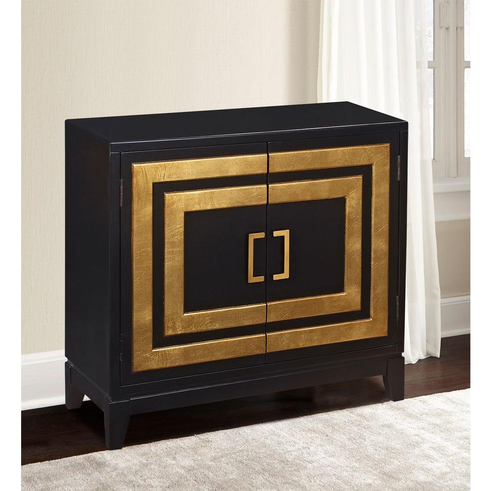 Pulaski furniture black and gold storage cabinet
