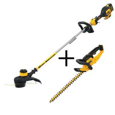 20-Volt MAX Lithium-Ion Cordless 13 in.  Brushless String Trimmer with 5.0Ah Battery, Charger and Bonus Hedge Trimmer