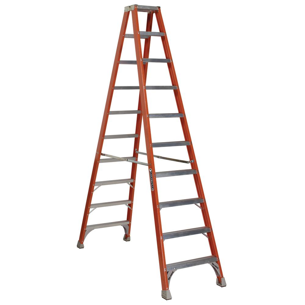 Louisville 10 ft. Fiberglass Twin Step Ladder with 300 lb...