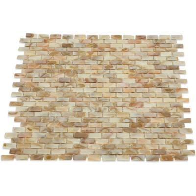 Baroque Pearls Mini Brick 12 in. x 12 in. Pearl Glass Mosaic Floor and Wall Tile