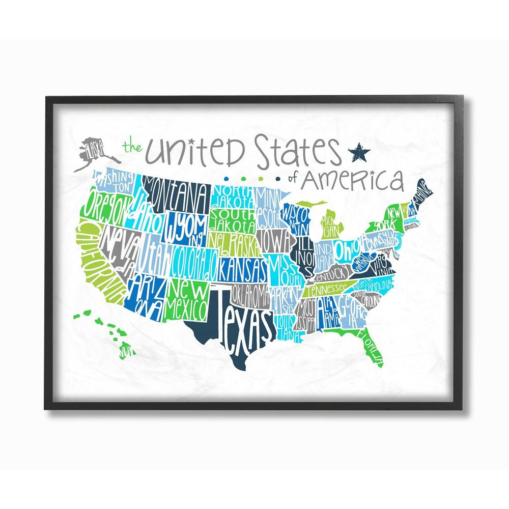 16 In X 20 In United States Map Colored Typography By Erica Billups Wood Framed Wall Art