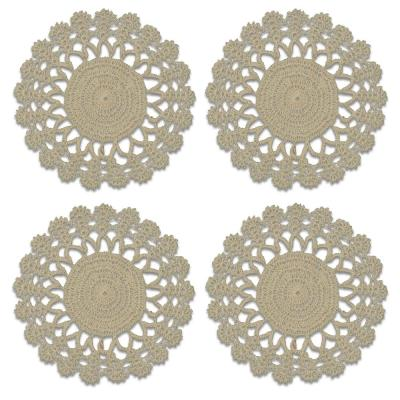 Crochet Envy Lacy 8 in. Natural Round Doily (Set of 4)