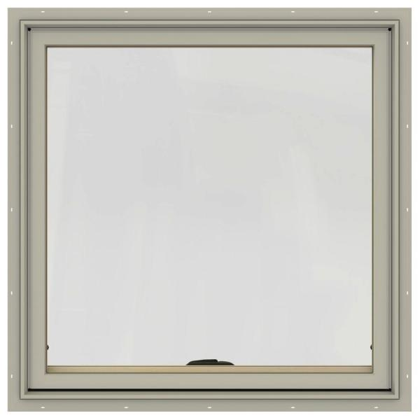 36 in. x 36 in. W-2500 Series Desert Sand Painted Clad Wood Awning Window w/ Natural Interior and Screen