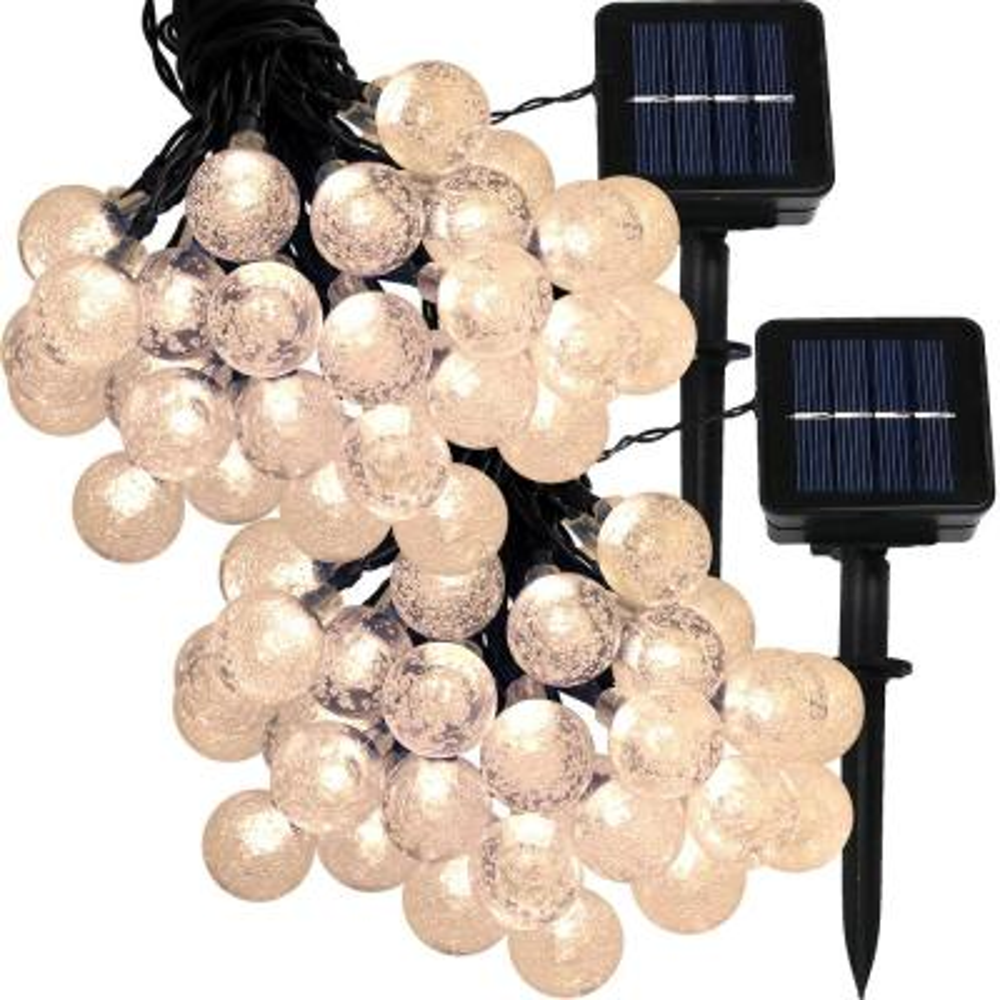 30-Light Outdoor 20 ft. Solar Globe LED String Light Set in Warm White (2-Pack)