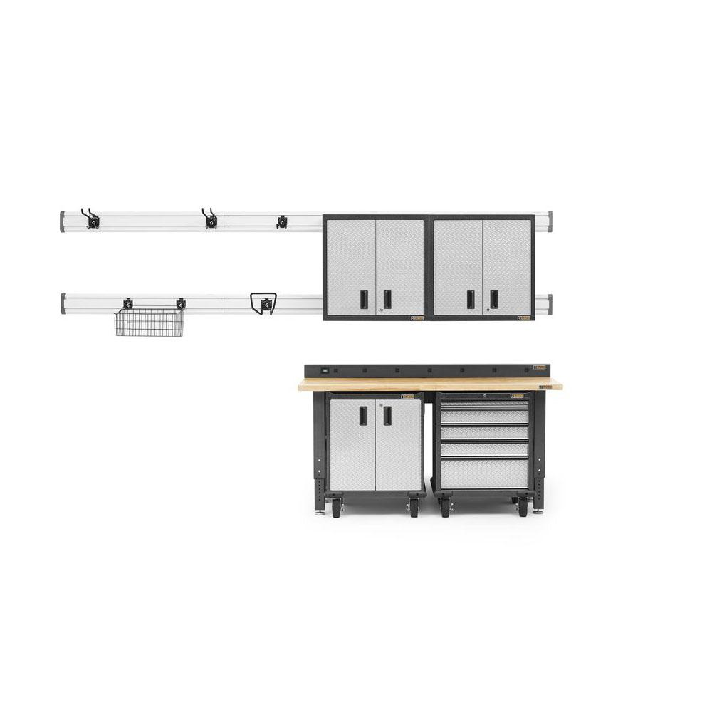 Gladiator Premier Series 90 in. H x 72 in. W x 25 in. D Steel Garage Cabinet and Wall Storage System in Silver Tread (13-Piece)
