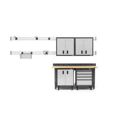 Premier Series 90 in. H x 72 in. W x 25 in. D Steel Garage Cabinet and Wall Storage System in Silver Tread (13-Piece)