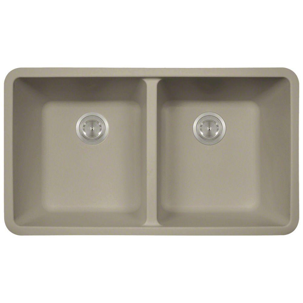 Superieur Polaris Sinks Undermount Granite Composite 32.5 In. 0 Hole Double Bowl  Kitchen Sink In