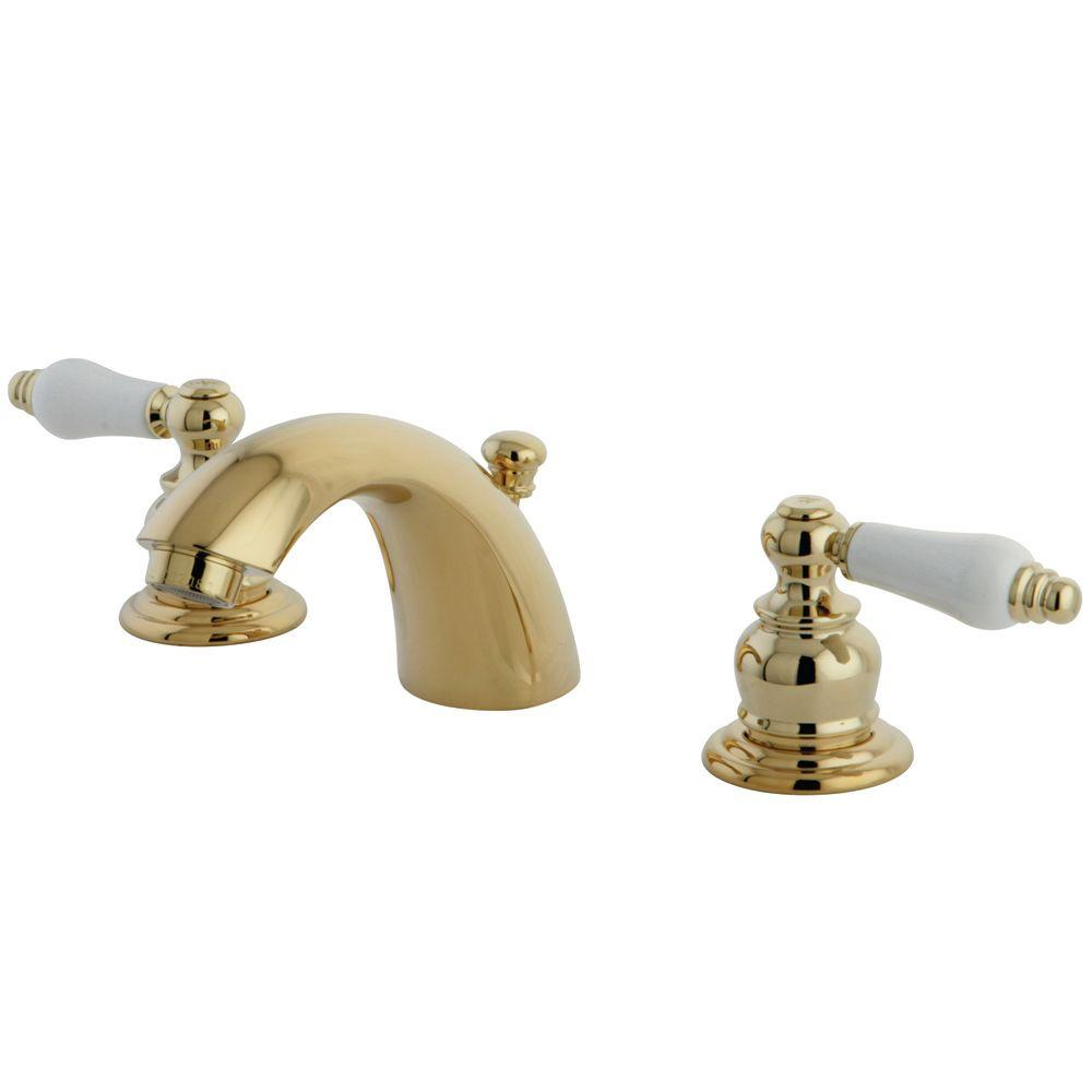 Kingston Brass Victorian 4 In Mini Widespread 2 Handle Mid Arc Bathroom Faucet In Polished