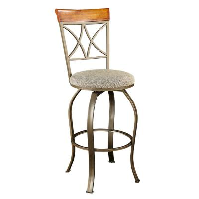 3-Piece Matte Pewter and Bronze Metal Brushed Faux Medium Cherry Wood Top Pub Table Set