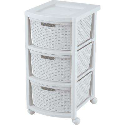 Rimax Resin 3-Drawer Rolling Cart in White