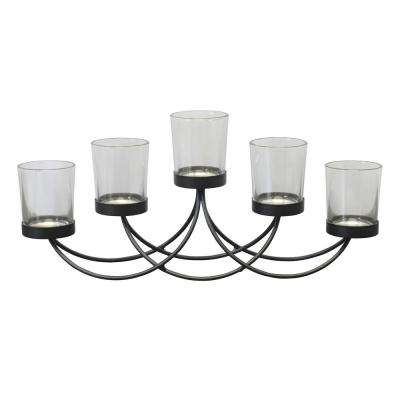 Black Metal 5-Votive Candle Holder Centerpiece