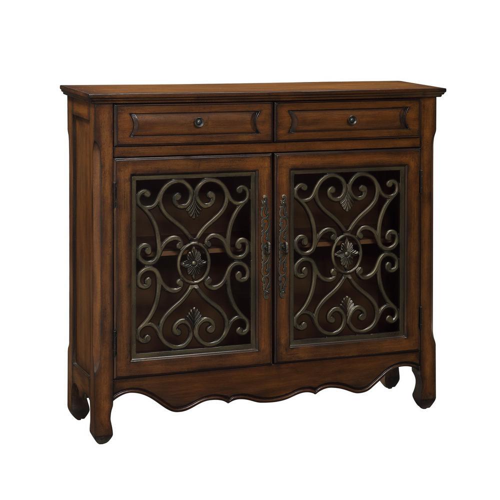 Hollin Brown and Bronze Metal 1-Drawer 2-Door Cupboard