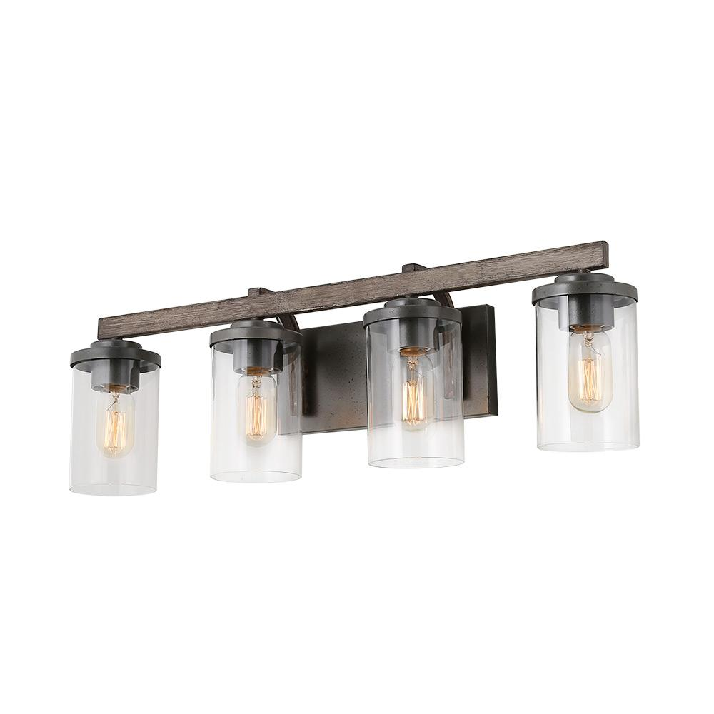 competitive price 1bf3b f4a36 LNC 4-Light Dark Gray Vanity Light Bathroom Faux Wood Bath Light