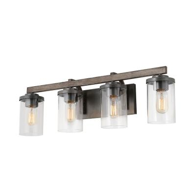 Cahon 4-Light 28 in. Rustic Dark Gray Vanity Light Bathroom Painted Brushed Wood Accents with Matte Black Bases