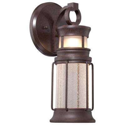 1-Light Architectural Bronze Outdoor Integrated LED Wall Mount Lantern
