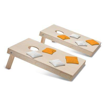 Take-And-Play Cornhole Toss Game Set with Yellow Gold and White Bags