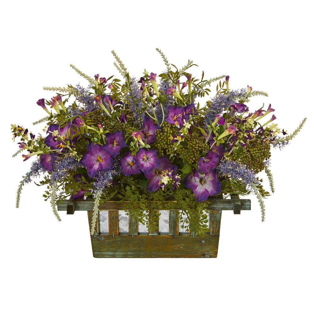 Indoor Morning Glory Artificial Arrangement in Decorative Planter