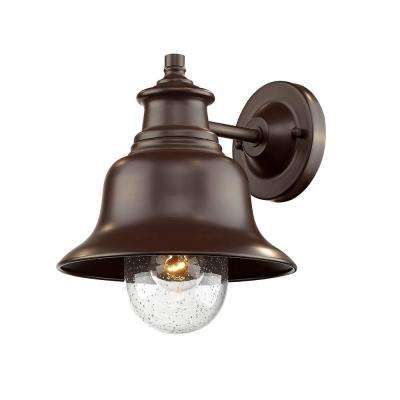 10 in. 1-Light Powder Coated Bronze Outdoor Wall Lantern Sconce with Glass Shade