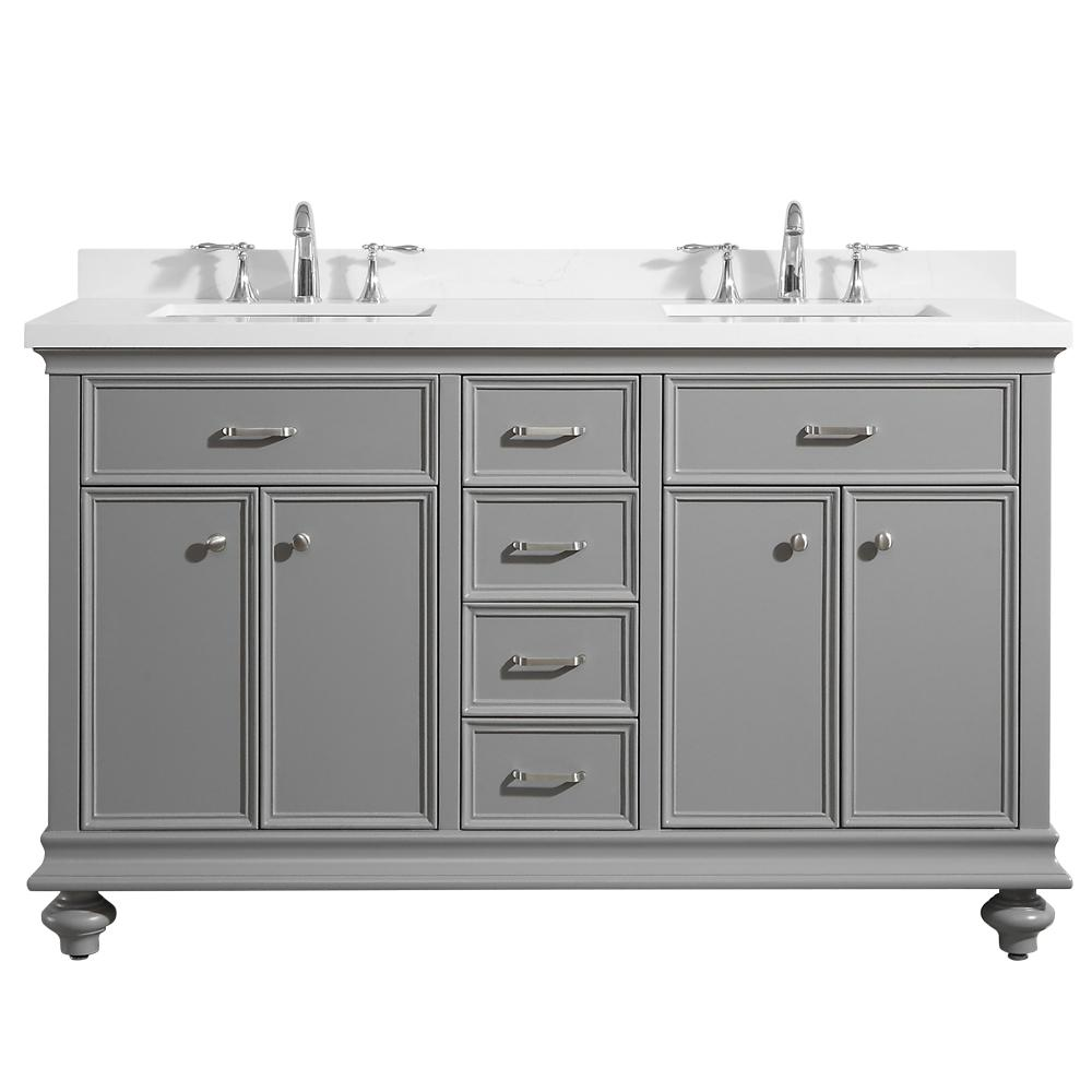 ROSWELL Charlotte 60 in. W x 22 in. D x 36 in. H Vanity in Grey with Quartz Vanity Top in White with White Basin