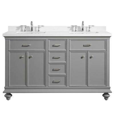Charlotte 60 in. W x 22 in. D x 36 in. H Vanity in Grey with Quartz Vanity Top in White with White Basin