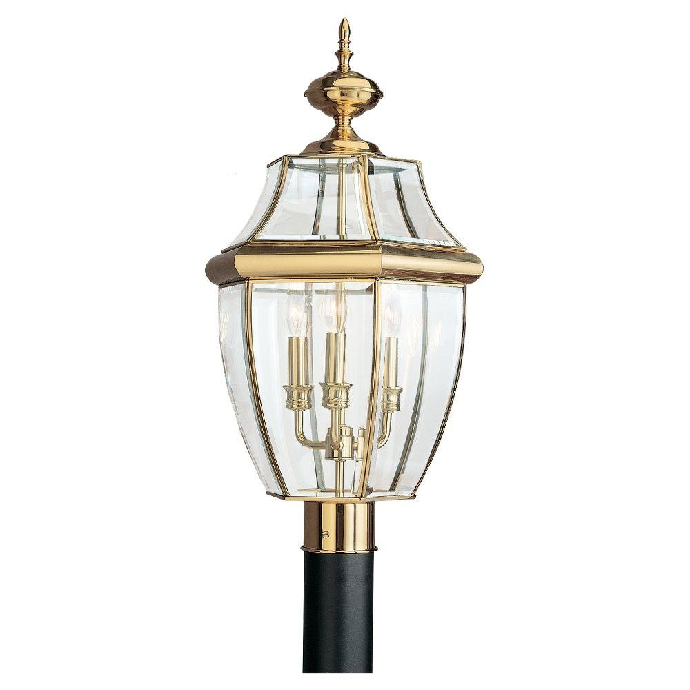 Sea Gull Lighting Lancaster 3 Light Outdoor Polished Brass Post Top 8239 02 The Home Depot