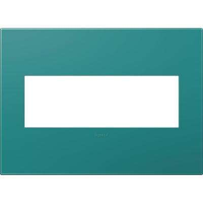 3-Gang 3 Module Wall Plate, Turquoise Blue