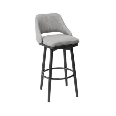 Ari Adjustable 24 in. Light Gray Upholstered Bar Stool