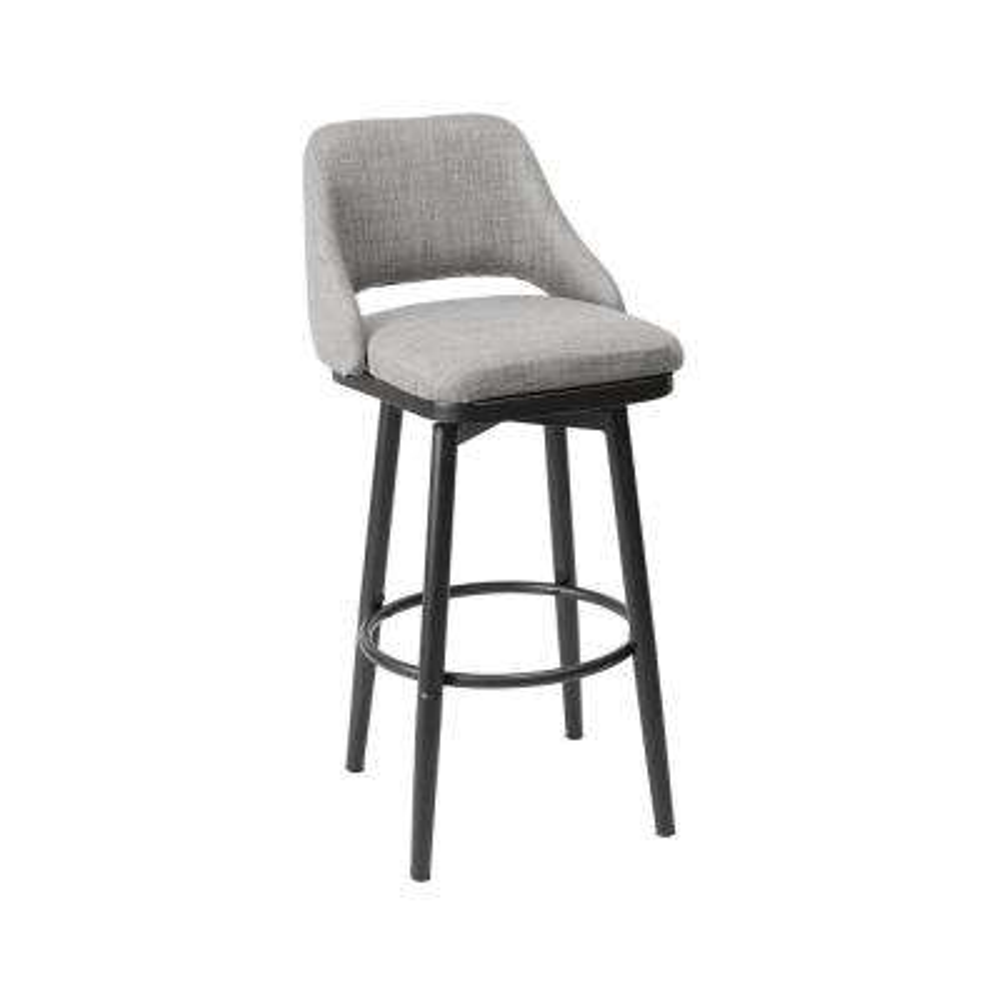 Ari Adjustable 24 in. Light Gray Upholstered Bar Stool
