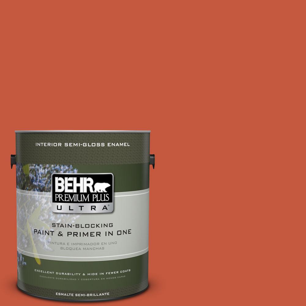 1-gal. #BIC-31 Fire Coral Semi-Gloss Enamel Interior Paint