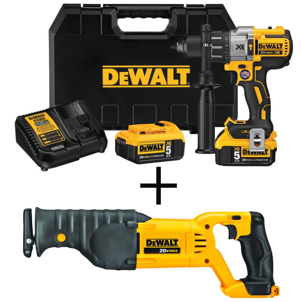 DEWALT 20-Volt MAX XR Lithium Ion Cordless Premium Brushless Hammer Drill w/ Bonus 20-Volt MAX Cordless Recip Saw (Tool-Only)