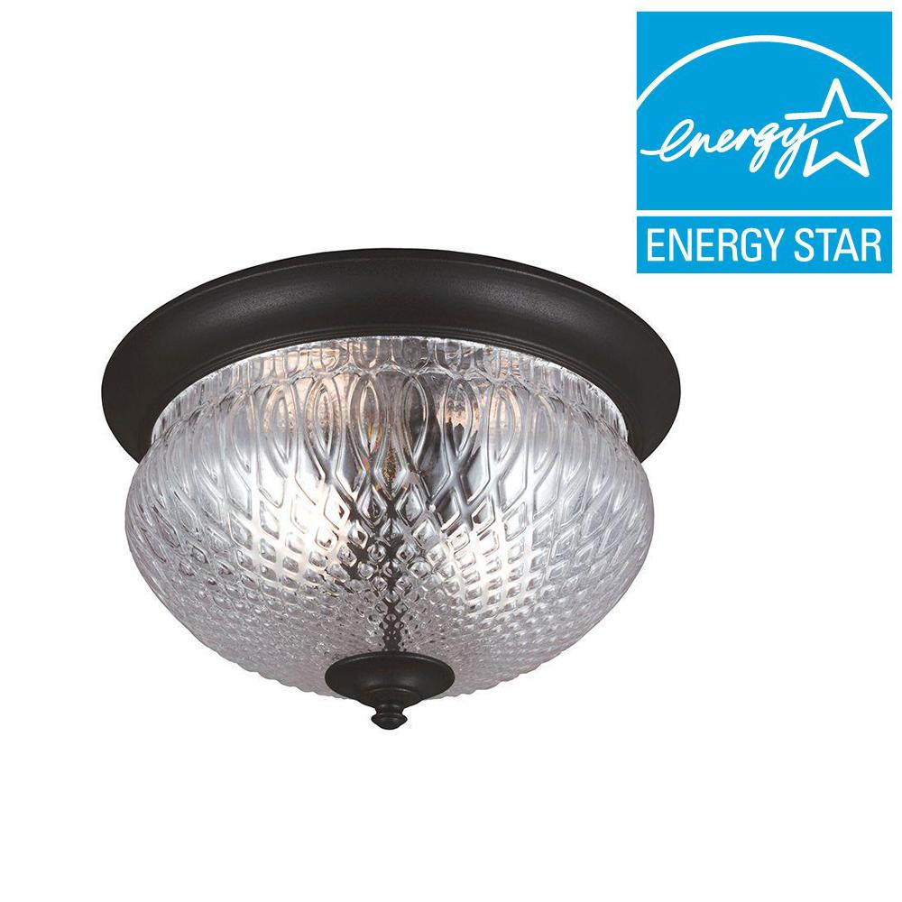 Sea Gull Lighting Garfield Park 2-Light Outdoor Black Fluorescent Ceiling Flushmount with Clear Glass