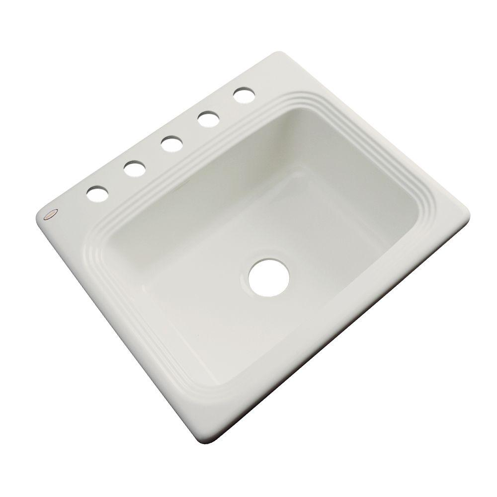 Thermocast Rochester Drop-In Acrylic 25 in. 5-Hole Single Bowl Kitchen Sink in Tender Grey