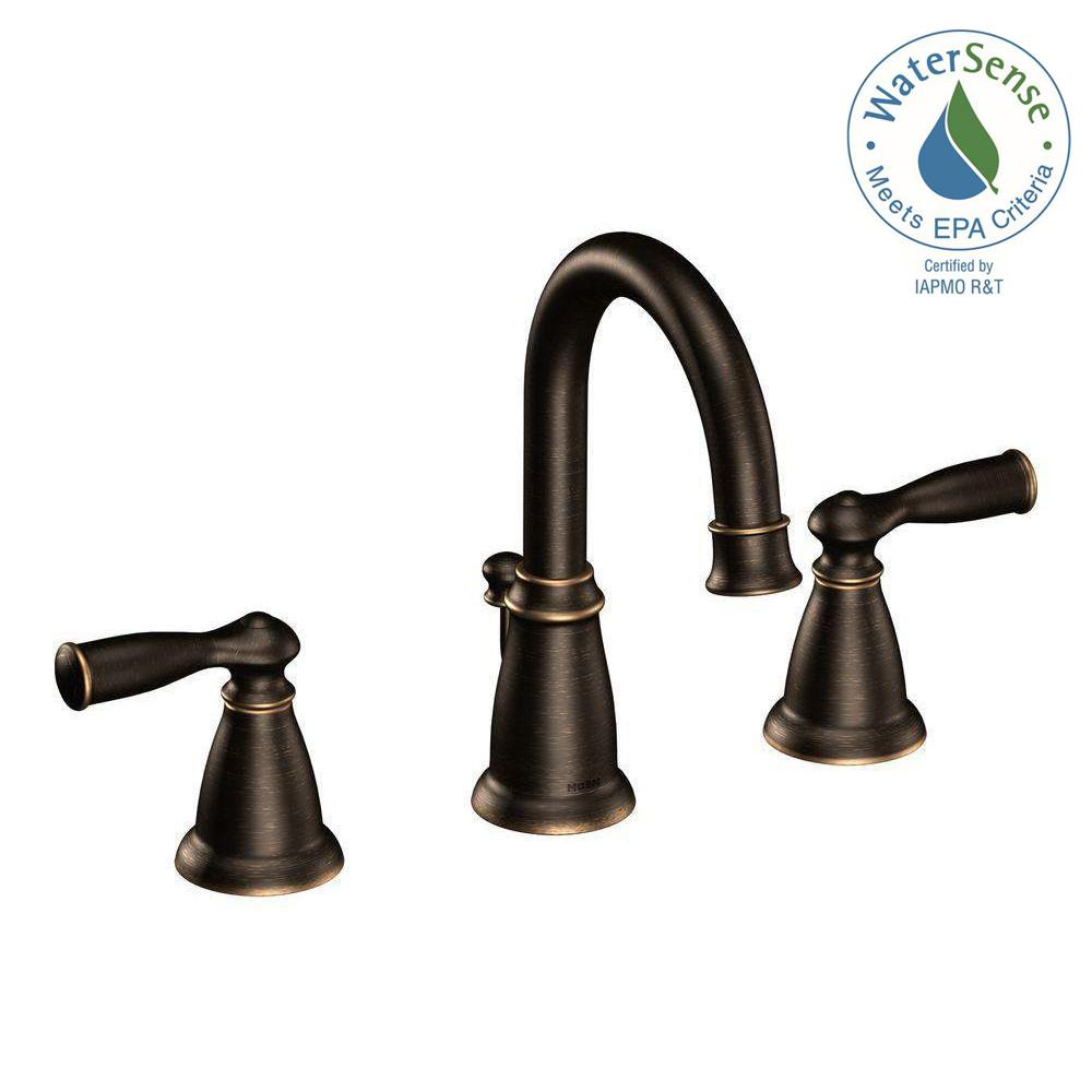 MOEN Banbury 8 in. Widespread 2-Handle Bathroom Faucet in Mediterranean Bronze