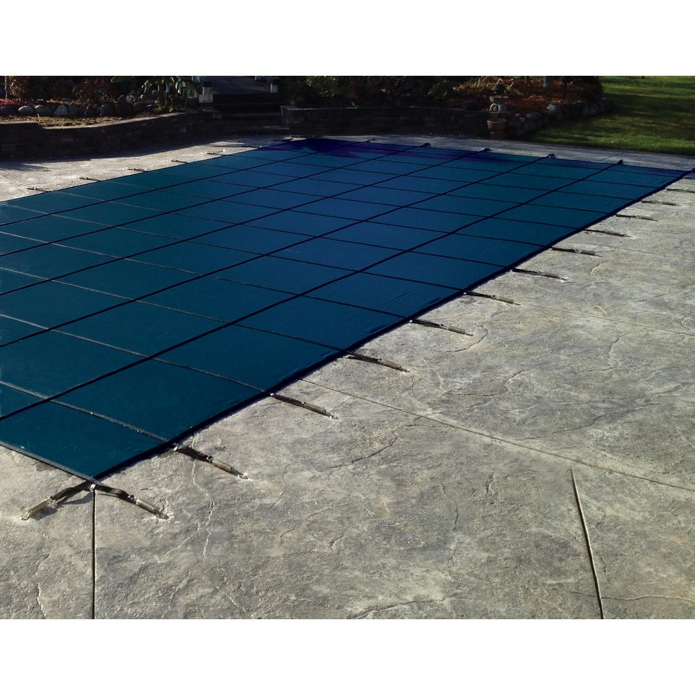 Water Warden 20 ft. x 40 ft. Rectangle Blue Solid In-Ground Safety Pool Cover Right Side Step