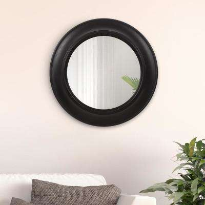 Rustic Distressed Black Round Wall Mirror