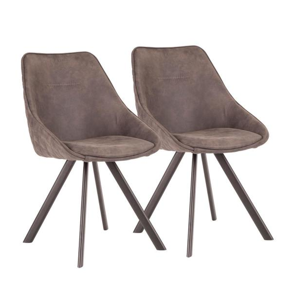 Lumisource Marche Black and Dark Grey Upholstered Chair (Set of 2)
