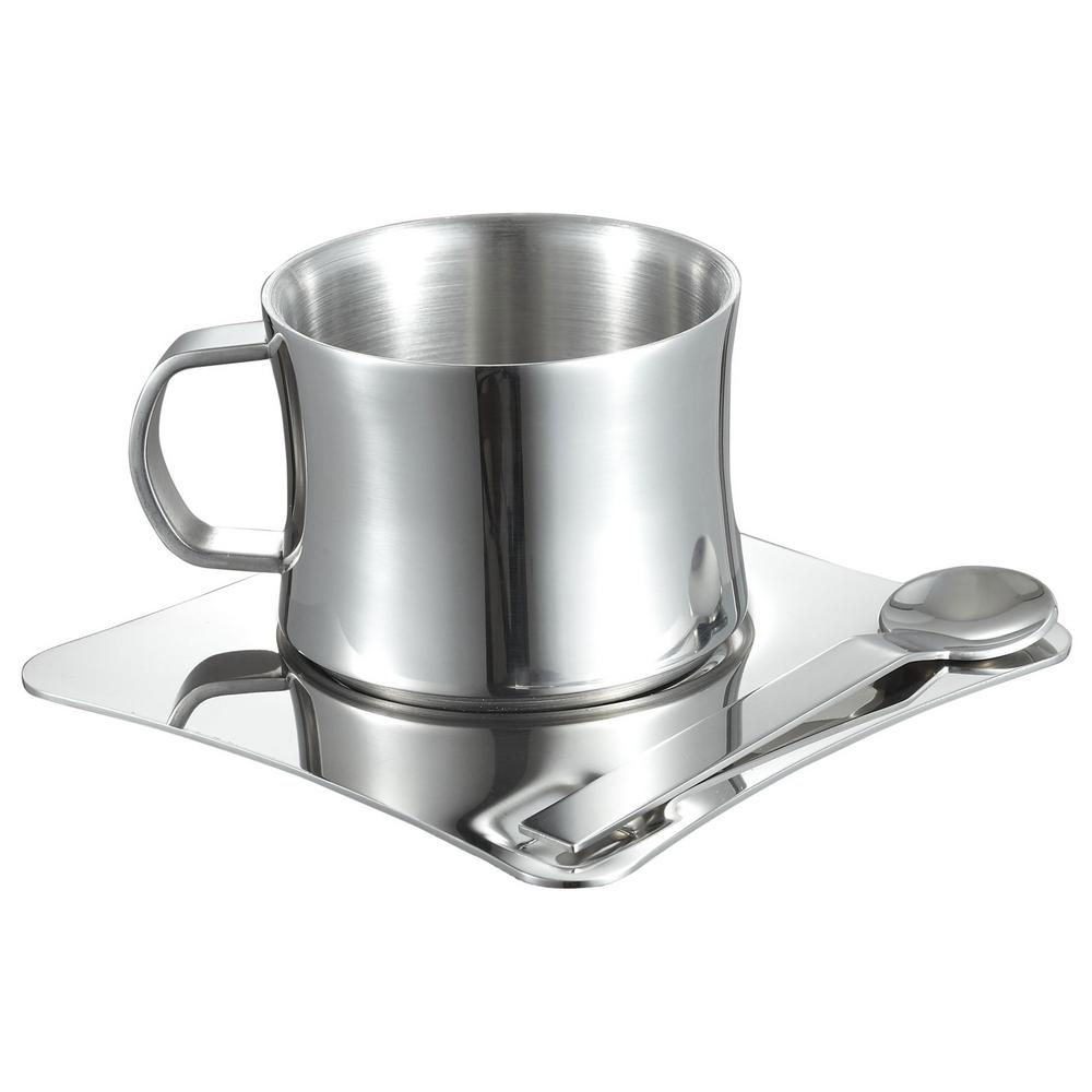 4 oz. Stainless Steel Double Walled Coffee Cup with Saucer and