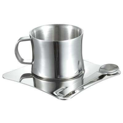 4 oz. Stainless Steel Double Walled Coffee Cup with Saucer and Spoon
