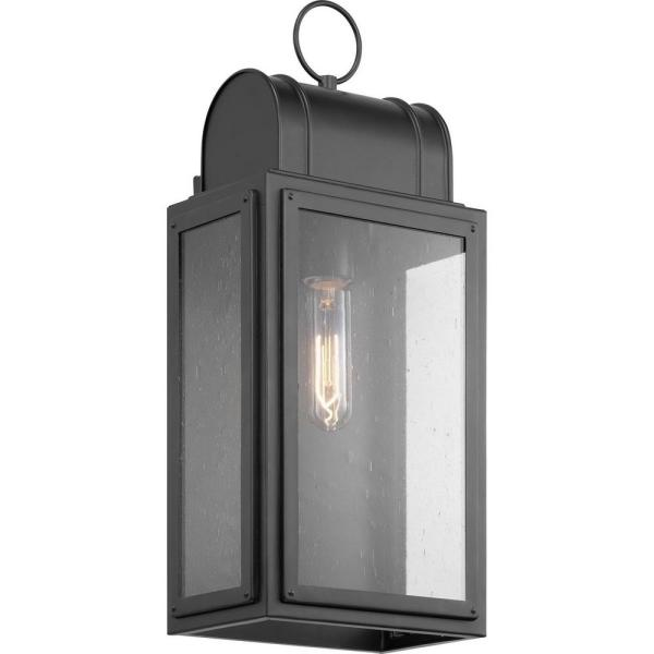 Landstone 1-Light 17 in. Matte Black Outdoor Wall Lantern with Clear Glass