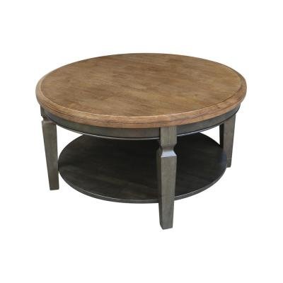 Vista 38 in. Hickory/Coal Medium Round Wood Coffee Table with Shelf